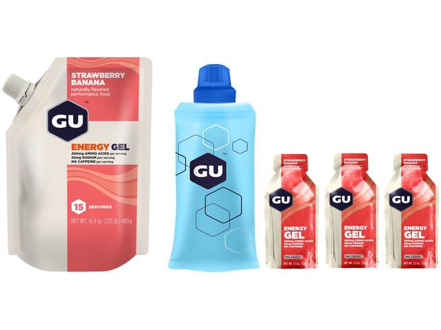 GU Energy Kit Gels Pack vrac 480g + Gel 3x32g + Flacon, Strawberry Banana
